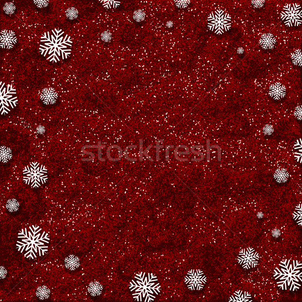 Snowflakes on red glitter background Stock photo © kjpargeter