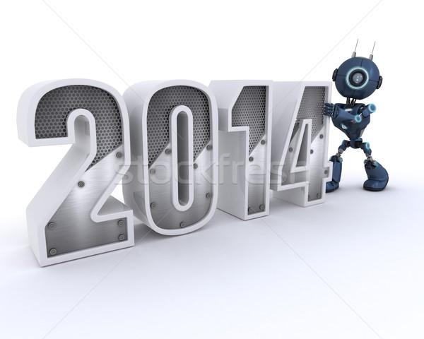 Android nieuwjaar 3d render technologie robot nieuwe Stockfoto © kjpargeter