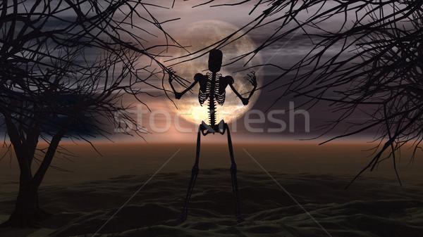 Хэллоуин деревья скелет 3d визуализации пейзаж Сток-фото © kjpargeter