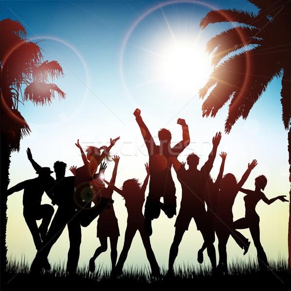 Nyár buli sziluettek emberek tánc trópusi Stock fotó © kjpargeter