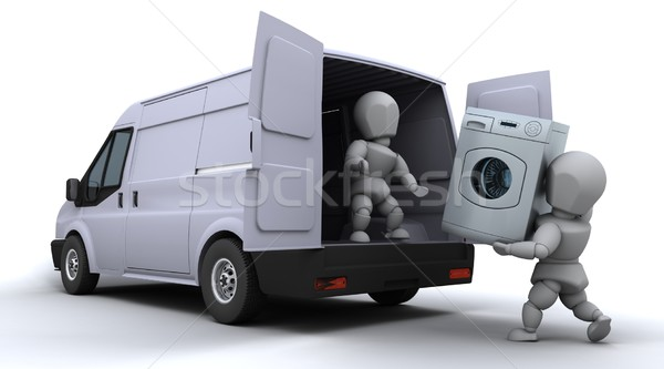 Stock photo: removal men loading a van