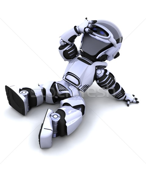 cute robot cyborg resting in the sun Stock photo © kjpargeter