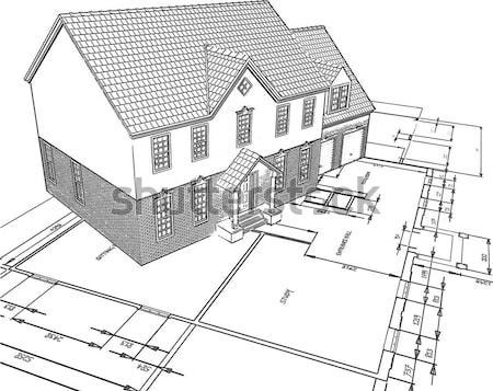 sketched house on plans  Stock photo © kjpargeter