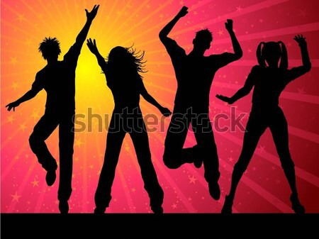 Tempo de festa menina festa homem mulheres dançar Foto stock © kjpargeter