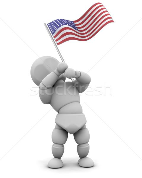 Férfi amerikai zászló 3d render zászló csillag piros Stock fotó © kjpargeter