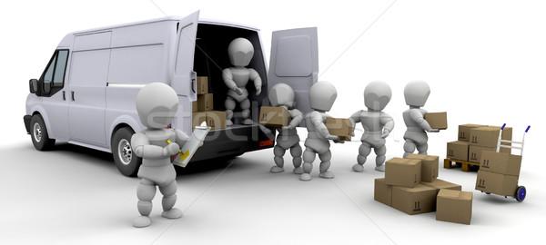 3D eltávolítás furgon férfiak dobozok izolált Stock fotó © kjpargeter
