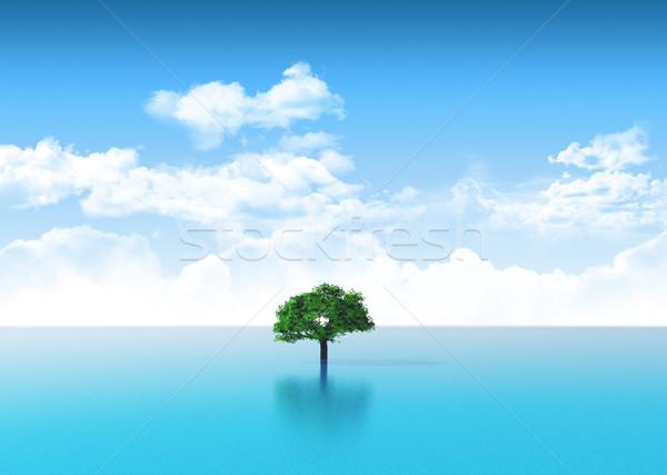 3D ocean scene with tree Stock photo © kjpargeter