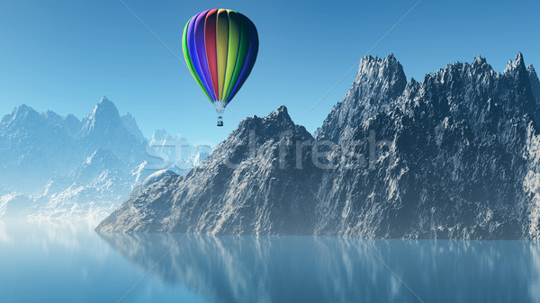 3D paysage ballon à air chaud montagnes rendu 3d Photo stock © kjpargeter
