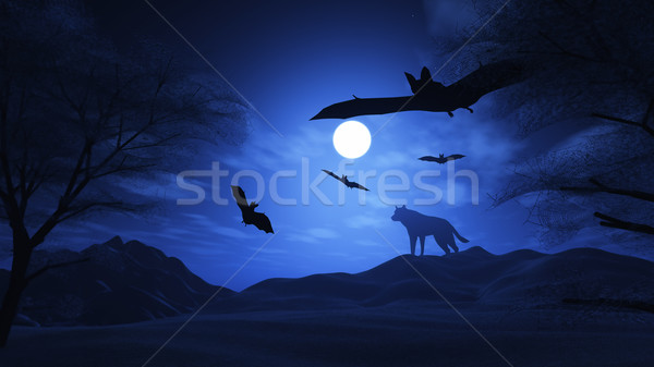Spooky landscape with wolf and bats Stock photo © kjpargeter