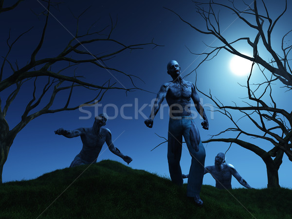 3d render colina noite árvore morto céu noturno Foto stock © kjpargeter