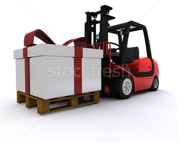 Forklift truck with christmas gift box Stock photo © kjpargeter