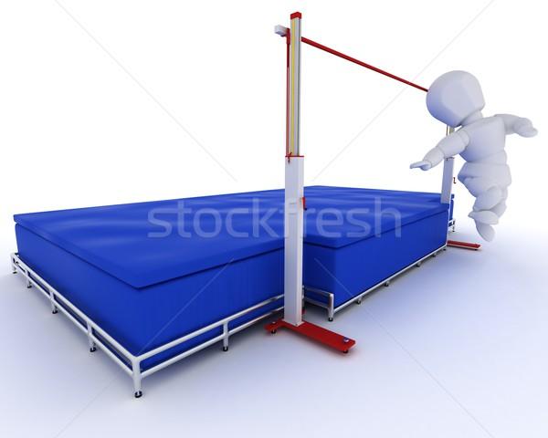 Man hoogspringen 3d render sport veld Stockfoto © kjpargeter
