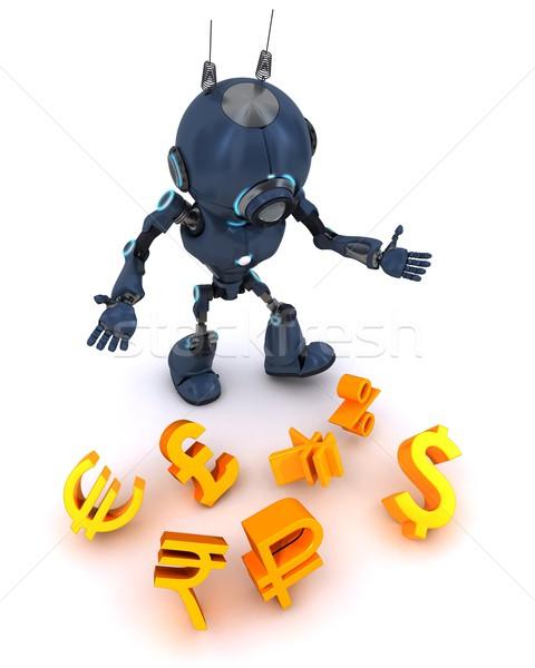 Robot jongleren 3d render man bal Stockfoto © kjpargeter