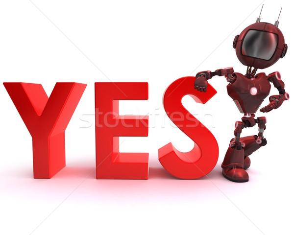 Android igen felirat 3d render robot Stock fotó © kjpargeter