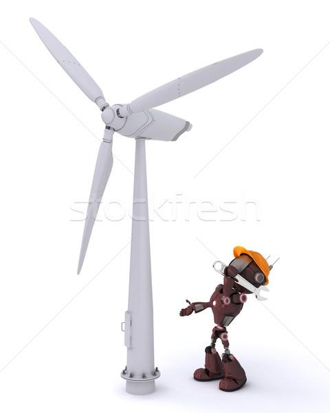 Android windturbine 3d render man robot macht Stockfoto © kjpargeter