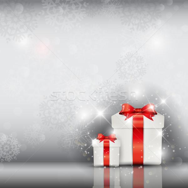 Karácsony ajándék ajándékok ezüst hópehely hó Stock fotó © kjpargeter