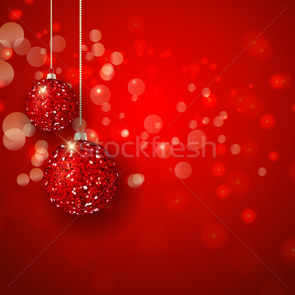 Christmas glittery baubles background Stock photo © kjpargeter