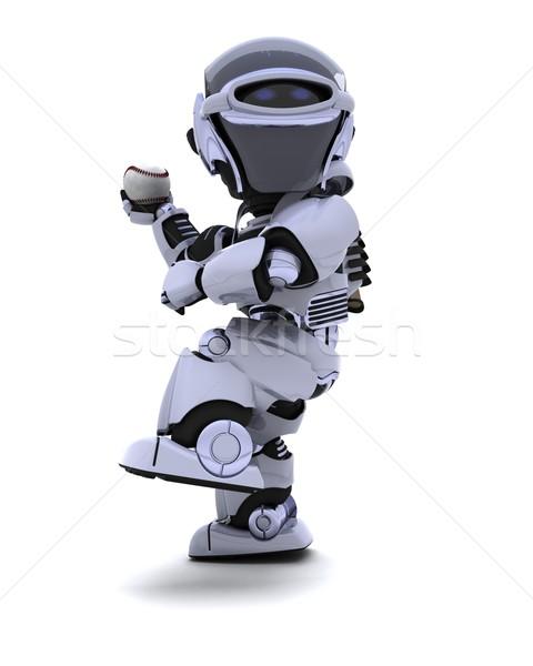 Robot playing baseball Stock photo © kjpargeter