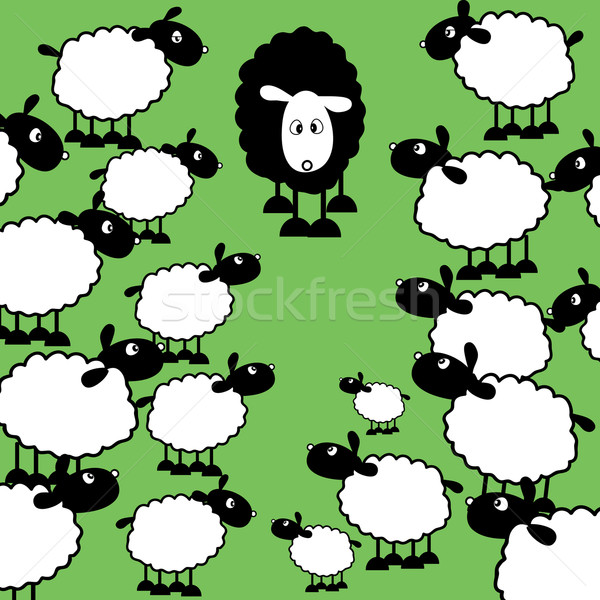 Noir moutons famille une blanche fond Photo stock © kjpargeter
