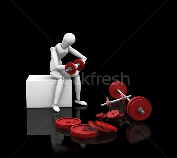 Levantamento de peso 3d render homem preto peso dieta Foto stock © kjpargeter