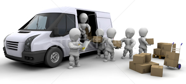 3D moving men handling materials  Stock photo © kjpargeter
