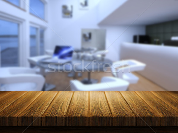 Wooden table with defocussed cafe bar image Stock photo © kjpargeter