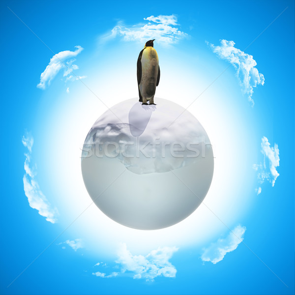 3D penguin on icy globe Stock photo © kjpargeter