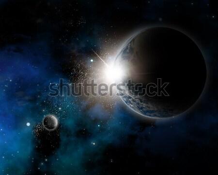 Uzay nebula dünya gezegeni toprak Yıldız soyut Stok fotoğraf © kjpargeter