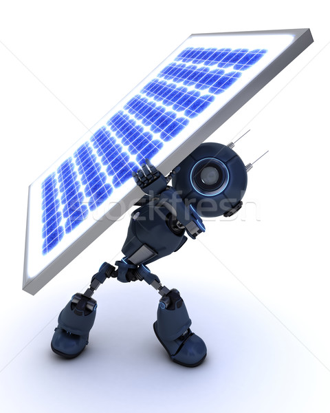 Android with a solar panel Stock photo © kjpargeter