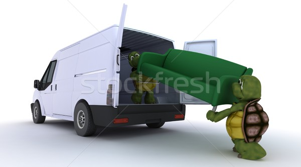 tortoises loading a sofa into a van Stock photo © kjpargeter