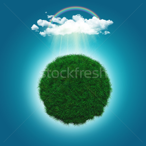 3D render of a grassy globe with a rainbow and raincloud Stock photo © kjpargeter