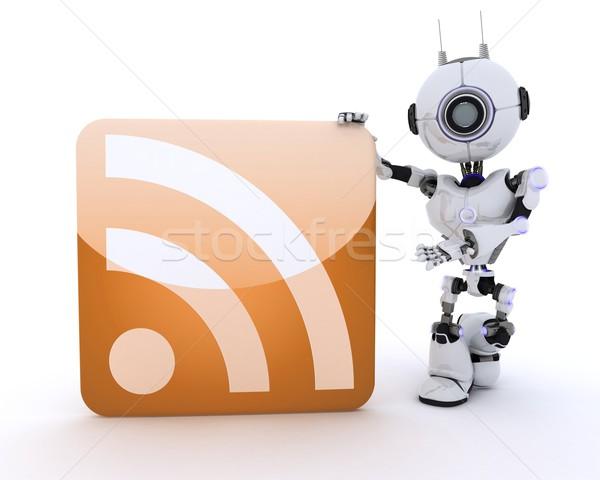 Robot rss simbolo rendering 3d uomo segno Foto d'archivio © kjpargeter