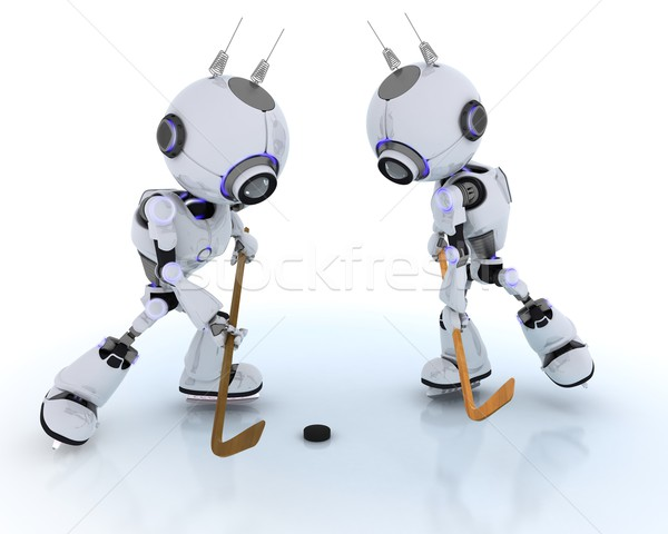Robots playing ice hockey Stock photo © kjpargeter