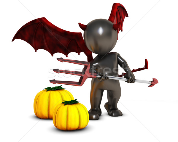 3D Morph Man Daemon with pumpkins Stock photo © kjpargeter