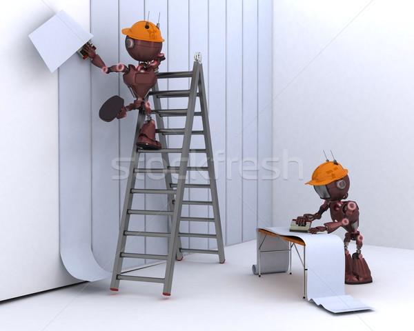Android wiszący tapety 3d człowiek ściany Zdjęcia stock © kjpargeter