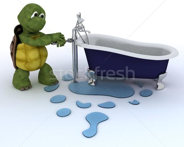 черепаха сантехники 3d визуализации воды строительство Сток-фото © kjpargeter