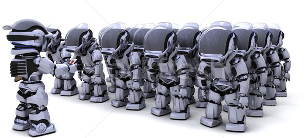 Robot shutting down army of robots Stock photo © kjpargeter