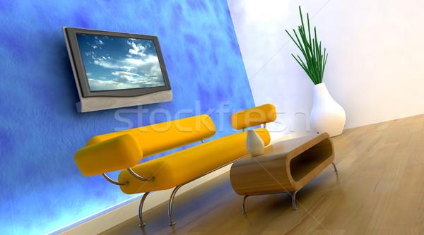 3d render kanapé tv televízió fal ház Stock fotó © kjpargeter