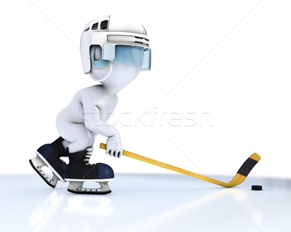 3D Morph Man playing ice hockey Stock photo © kjpargeter