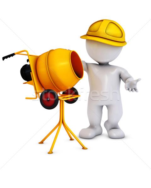 Foto stock: Homem · construtor · cimento · batedeira · 3d · render