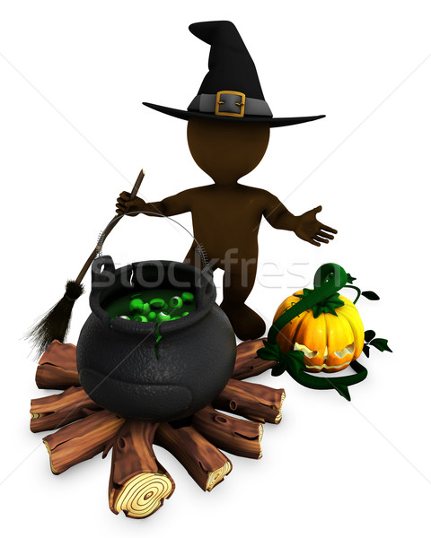 3D Morph Man Witch with cauldron Stock photo © kjpargeter