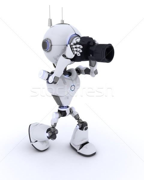 Robot with SLR Camera Stock photo © kjpargeter
