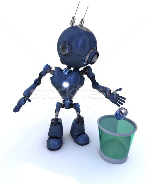 Android újrahasznosítás szemét 3d render robot újrahasznosít Stock fotó © kjpargeter