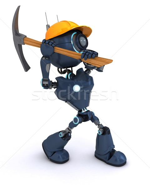 Androide constructor hacha 3d hombre herramienta Foto stock © kjpargeter