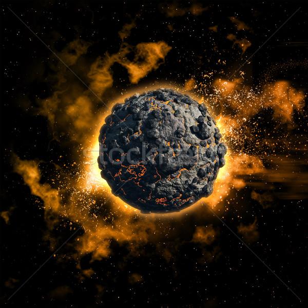 Uzay volkanik gezegen renkli nebula gökyüzü Stok fotoğraf © kjpargeter