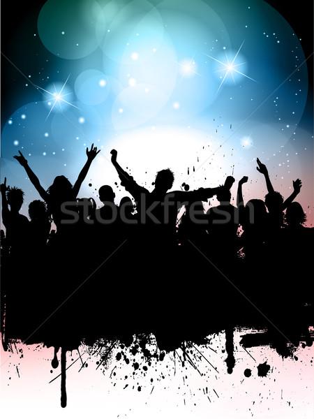 Grunge buli sziluett tömeg fények nő Stock fotó © kjpargeter