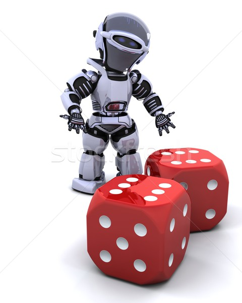robot rolling casino dice Stock photo © kjpargeter