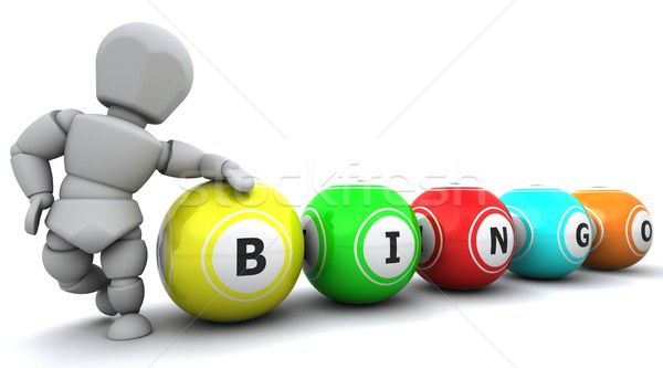 Blanke man bingo 3d render man bal Stockfoto © kjpargeter