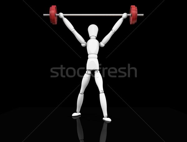 Súlyemelés 3d render férfi emel súlyok lift Stock fotó © kjpargeter