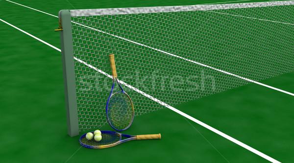 tennis racquet and balls Stock photo © kjpargeter